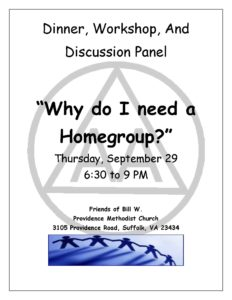 Why do I need a Homegroup? @ Providence Methodist Church   Suffolk   Virginia   United States
