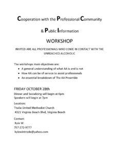 Cooperation with the Professional Community  & Public Information WORKSHOP @ Thalia United Methodist Church   Virginia Beach   Virginia   United States
