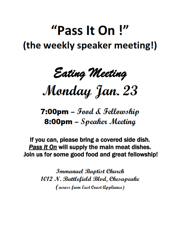 P It On The Weekly Speaker Meeting Tidewater Intergroup Council