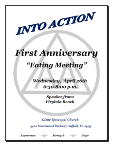 "Into Action - First Anniversary ""Eating Meeting"" @ Glebe Episcopal Church 
