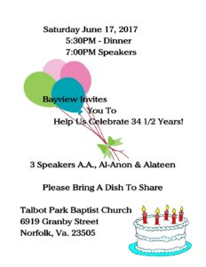 Bayview 2017 Flyer • Tidewater Intergroup Council
