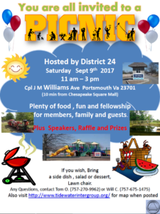 District 24 Picnic @ Portsmouth City Park | Portsmouth | Virginia | United States