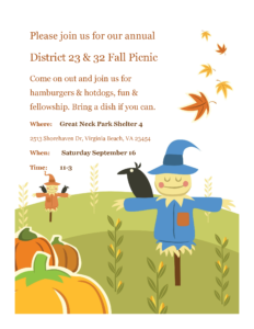 Fall Picnic~~~Districts 23 & 32~~~ @ Great Neck Park Shelter 4 | Virginia Beach | Virginia | United States