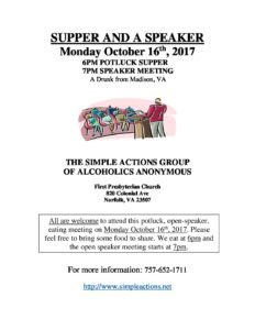 Supper & Speaker Meeting presented by Simple Actions @ First Presbyterian Church | Norfolk | Virginia | United States