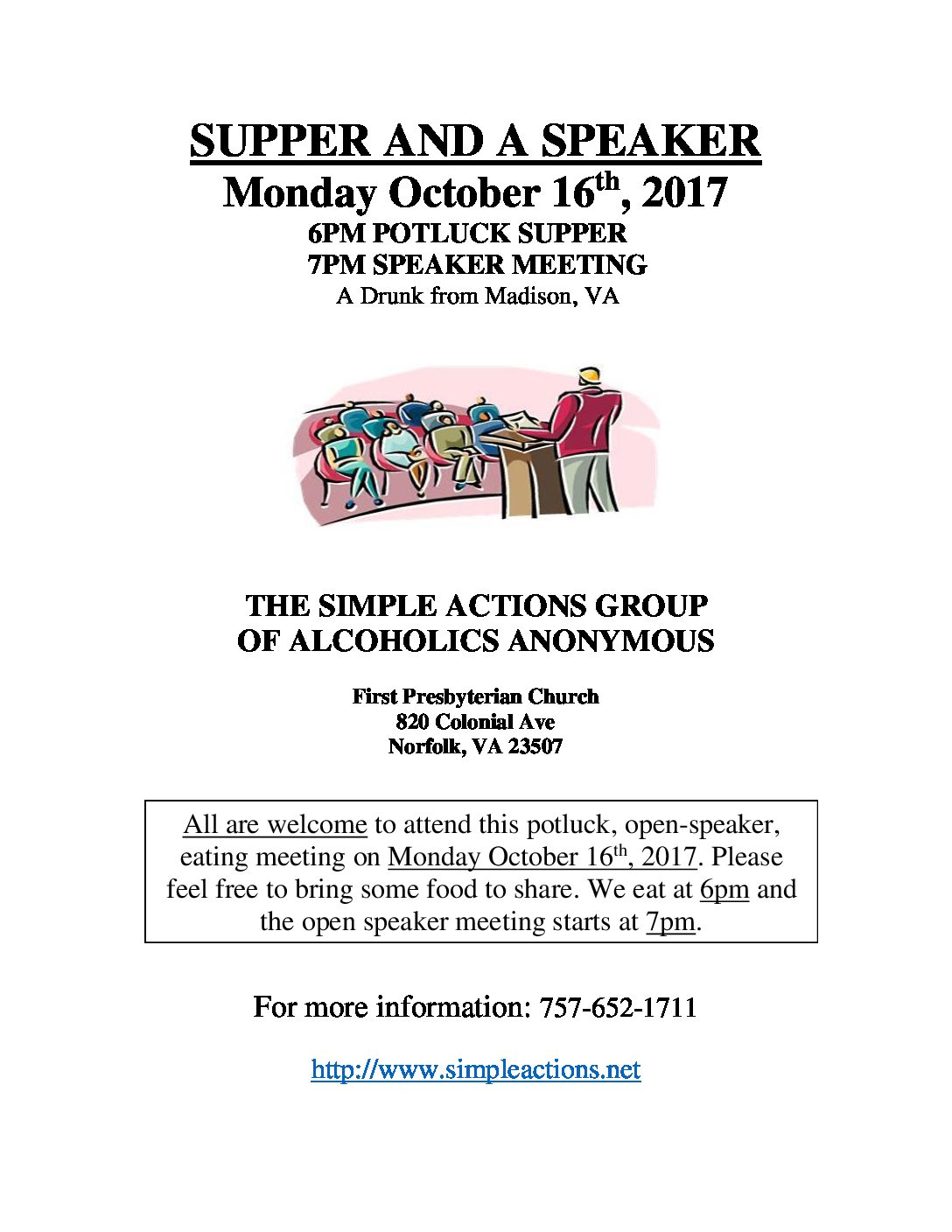 Supper & Speaker Meeting presented by Simple Actions