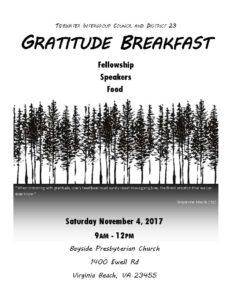 Gratitude Breakfast @ Bayside Presbyterian Church   Virginia Beach   Virginia   United States