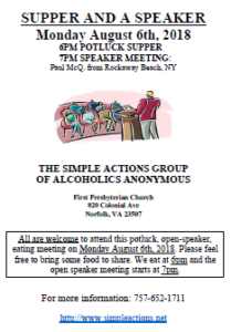 Supper and a Speaker - presented by Simple Actions @ First Presbyterian Church | Norfolk | Virginia | United States