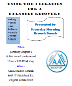 Using the 3 Legacies For a Balanced Recovery @ Old Donation Church | Virginia Beach | Virginia | United States