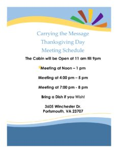 Carrying the Message Thanksgiving Day Meetings @ Leavenworth | Kansas | United States
