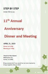 STEP BY STEP - 11th Annual Anniversary Dinner and Meeting @ Church of the Advent | Norfolk | Virginia | United States