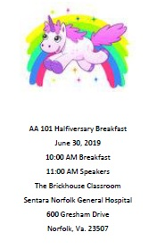 AA 101 Halfiversary Breakfast @ The Brickhouse Classroom - Sentara Norfolk General Hospital | Norfolk | Virginia | United States