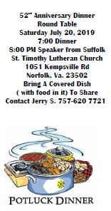 52nd Anniversary Dinner - Round Table @ St. Timothy Lutheran Church | Norfolk | Virginia | United States