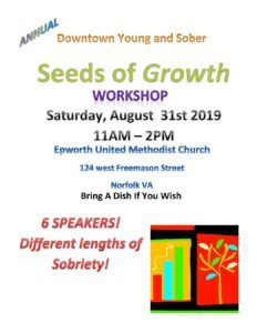 Annual Downtown Young & Sober Seeds Of Growth Workshop @ Epworth United Methodist Church | Norfolk | Virginia | United States