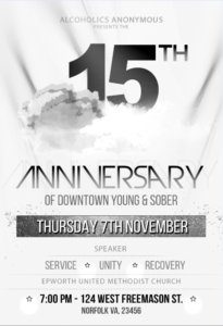 15TH ANNIVERSARY OF DOWNTOWN YOUNG & SOBER @ Epworth United Methodist Church | Norfolk | Virginia | United States