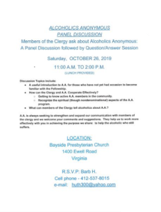 ALCOHOLICS ANONYMOUS PANEL DISCUSSION @ Bayside Presbyterian Church | Virginia Beach | Virginia | United States