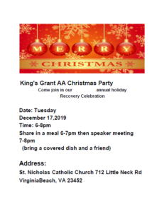 King's Grant AA Christmas Party @ St. Nicolas Catholic Church | Virginia Beach | Virginia | United States