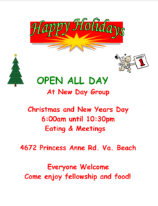 Happy Holidays OPEN ALL DAY! At New Day Group @ New Day Group | Virginia Beach | Virginia | United States