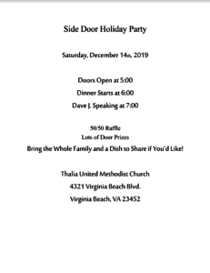 Side Door Holiday Party @ Thalia United Methodist Church | Virginia Beach | Virginia | United States