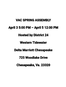 VAC Spring Assembly (Cancelled Due to Covid-19) @ Delta Marriott Chesapeake | Chesapeake | Virginia | United States