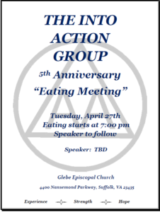 "THE  INTO  ACTION GROUP 5th Anniversary "" Eating Meeting"" @ Glebe Episcopal Church 