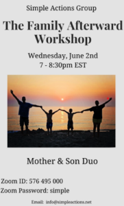 """Simple Actions Group - """"The Family Afterward"""" Workshop @ Zoom"""