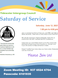 Saturday of Service - Tidewater Intergroup Council @ Zoom