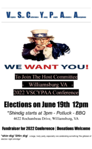 V.S.C.Y.P.A.A. Host Committee Elections and Fundraiser @ Williamsburg | Virginia | United States