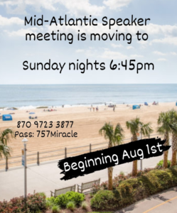 Mid Atlantic Group Moves to Sunday Nights @ Zoom