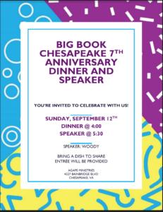 Big Book Chesapeake 7th Anniversary Dinner and Speaker @ Agape Ministries | Chesapeake | Virginia | United States