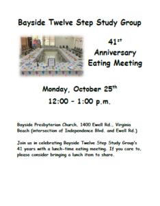 Bayside Twelve Step Study 41st Anniversary @ Bayside Presbyterian Church | Virginia Beach | Virginia | United States
